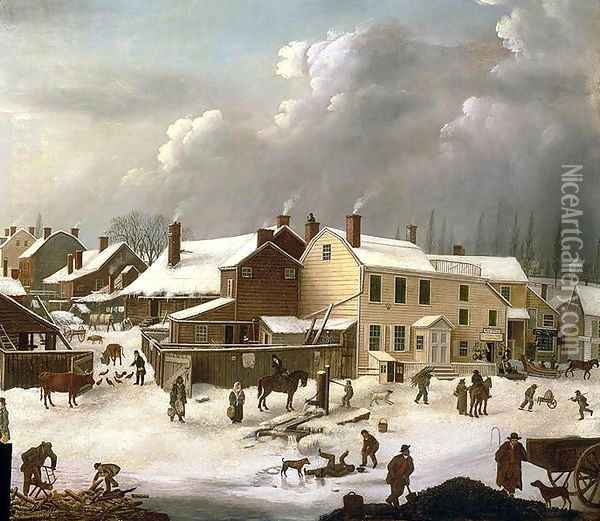 Winter Scene in Brooklyn detail of a street and the Post Office Oil Painting - Francis Guy