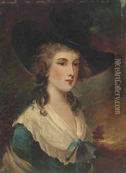Portrait of a gentleman, small bust-length, in a red coat; and Portrait of a lady, small bust-length, in a blue dress Oil Painting - Thomas Gainsborough