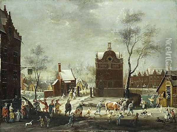 A Winter Carnival in a Small Flemish Town Oil Painting - Pieter Gysels