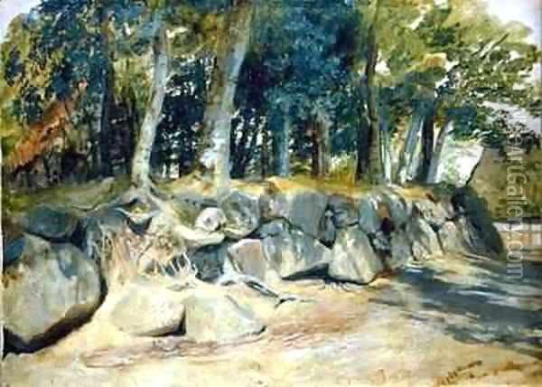 The Stone Wall in Sottorf Oil Painting - Jacob Gensler