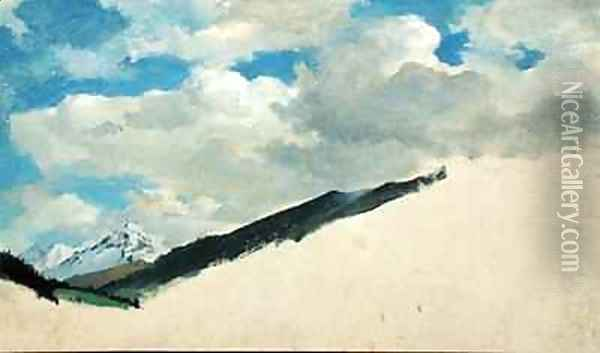 Study of Clouds with Mountain Tops Oil Painting - Jacob Gensler