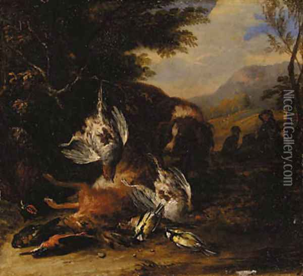 A dead hare, a brace of partridge, a kingfisher, a chaffinch, a thrush and a cock pheasant with a spaniel, a hunter with another dog beyond, in a wood Oil Painting - Adriaen de Gryef