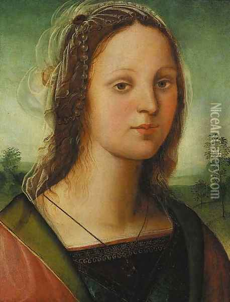 Portrait of a young lady, bust-length, with a pearl headdress, a landscape beyond Oil Painting - Raffaellino del Garbo