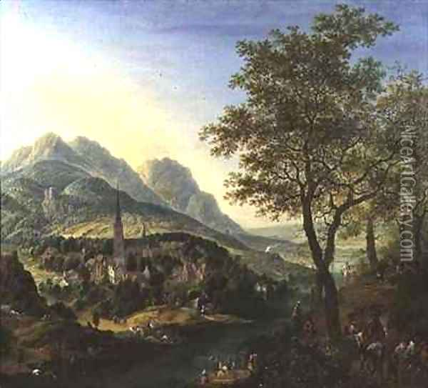 Travellers on a Path before a View on the Rhine Oil Painting - Jan the Elder Griffier