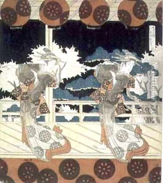 Two Dancers Perform on Stage from The Dance at Furuichi for the Hisakataya Group series Oil Painting - Yashima Gakutei