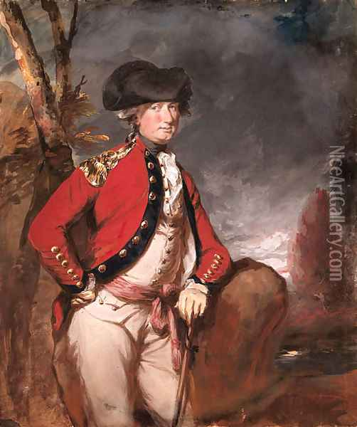 Portrait of Charles, 1st Marquis Cornwallis (1738-1805), three-quarter-length, in uniform, holding a cane in his left hand, in a landscape Oil Painting - Daniel Gardner