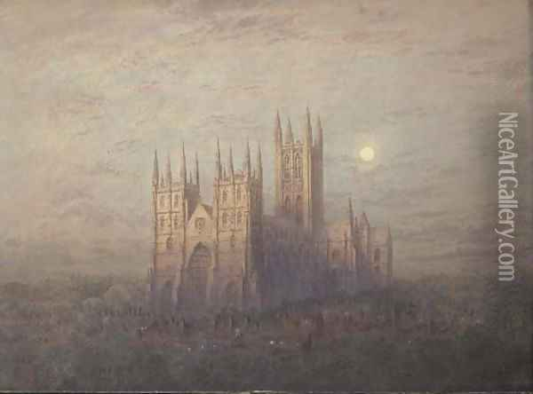 Canterbury Cathedral Oil Painting - Frederick E.J. Goff
