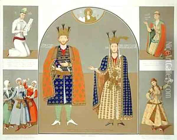 Georgia in the XVth century King Alexander I 1412-42 and Queen Nestane Dared Oil Painting - Grigori Grigorevich Gagarin
