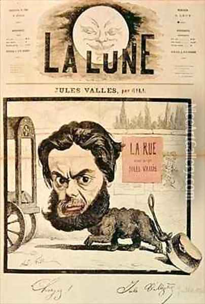 Front page of La Lune with a caricature of Jules Valles and his magazine La Rue Oil Painting - Andre Gill