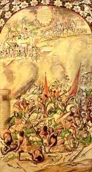 Conquest of Mexico the Spaniards retreating 1st July 1520 Oil Painting - Miguel and Juan Gonzalez