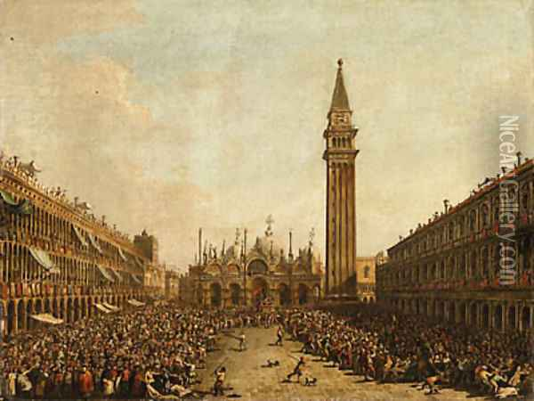 The Piazza San Marco, Venice, on the Doge's Coronation Day, with the Doge and the Admiral of the Arsenal being carried on the Pozzetto Oil Painting - Francesco Guardi