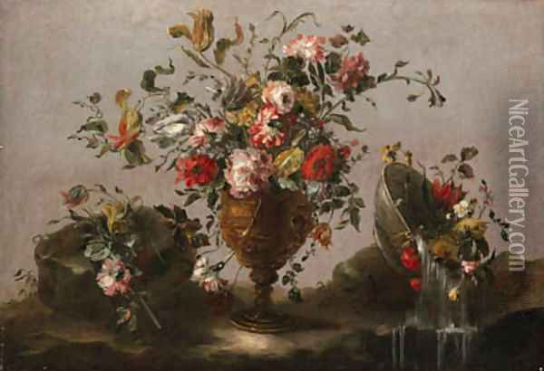 Parrot tulips, roses and other flowers in an urn, flowers in a bowl with water spilling out and a bunch of flowers on a rocky bank Oil Painting - Francesco Guardi