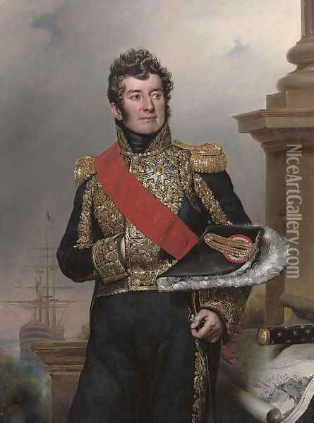 Portrait of Comte Laurent-Jean-Francois Truguet, Admiral of France, three-quarter-length, wearing the sash and breast star of the Legion d'Honneur Oil Painting - Paulin Jean Baptiste Guerin