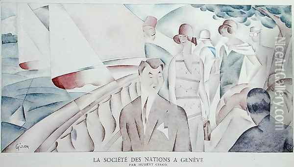 The League of Nations in Geneva Oil Painting - Hubert Giron