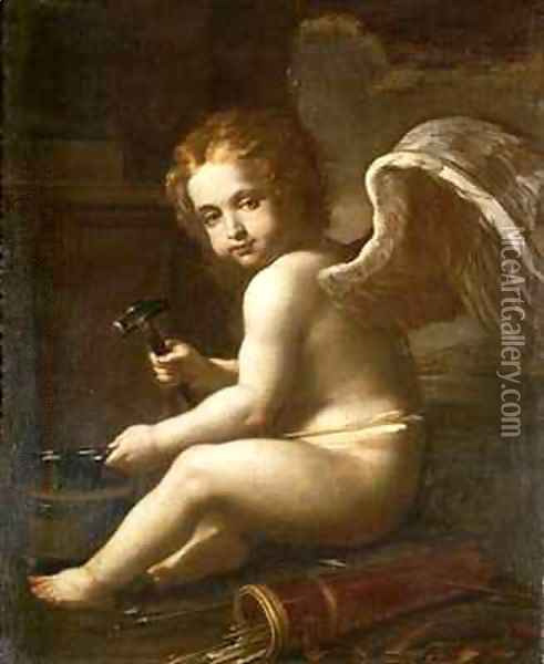 Cupid Sharpening his Arrows Oil Painting - Francesco Giovanni Gessi