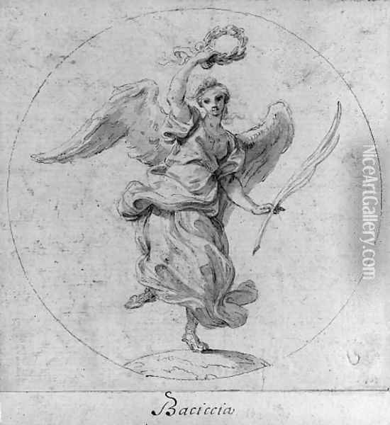 Victory Design for the obverse of a medal dedicated to Queen Christina of Sweden; and Virtue subduing Evil Design for the obverse of a medal dedicat Oil Painting - Giovanni Battista (Baciccio) Gaulli