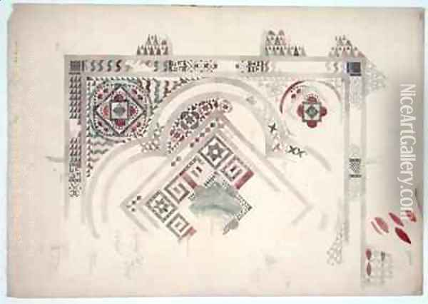 A study of part of the floor at Canterbury Cathedral Oil Painting - Ernest William Gimson