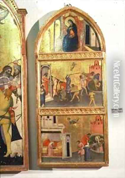 The Martyrdom of St Sebastian Altarpiec side panel showing the Virgin and scenes from the martyrdom of the saint Oil Painting - Niccolo del Biondo Giovanni di
