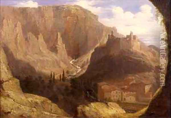 Hill Town in Italy Oil Painting - James William Giles