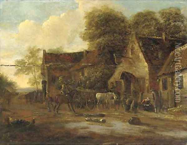 A village landscape with travellers and a wagon by an inn Oil Painting - Barent Gael
