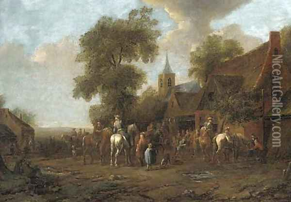 A village fair with travellers outside an inn Oil Painting - Barent Gael