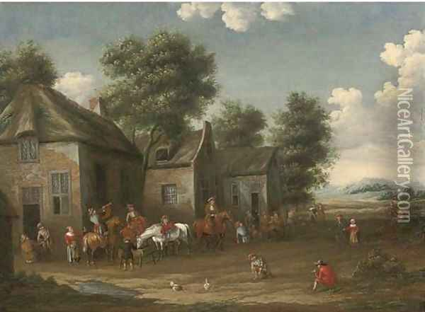 A wooded landscape with a hunting party setting out from an inn Oil Painting - Barent Gael