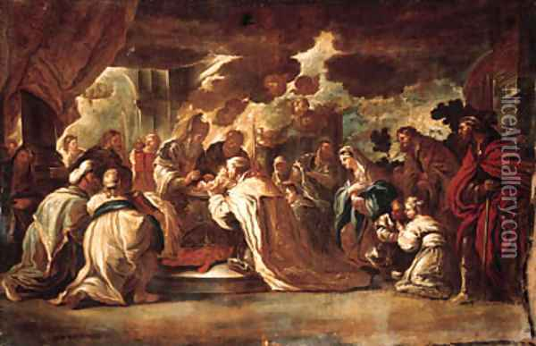 The Adoration of the Shepherds; and The Circumcision Oil Painting - Luca Giordano
