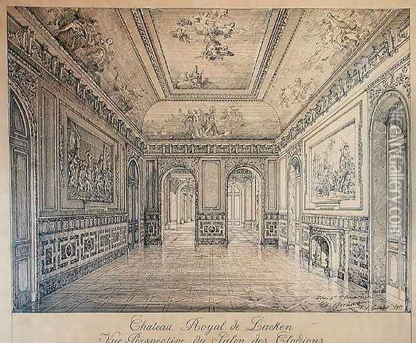 The Salon des Clodions at the Royal Palace of Laeken Oil Painting - Charles Louis Girault