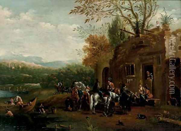 A river landscape with a hawking party at rest outside a tavern Oil Painting - Barend Gael or Gaal