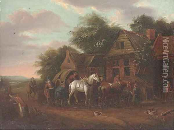 A wooded landscape with travellers at rest by a cottage Oil Painting - Barend Gael or Gaal