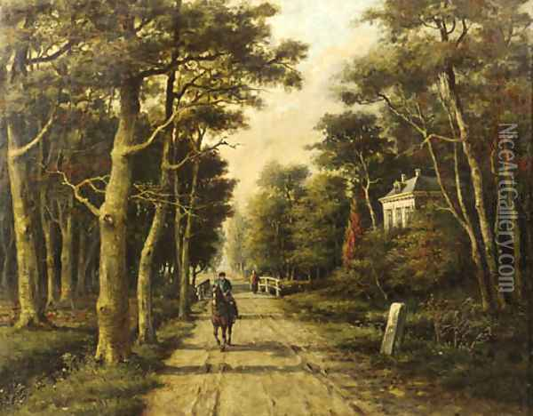 A horseman riding on a country lane Oil Painting - Adriaan Marinus Geijp