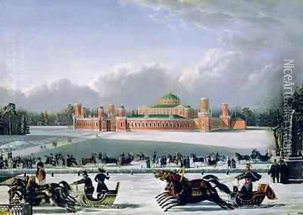 Sleigh Race at the Petrovsky Park in Moscow Oil Painting - Golitsyn