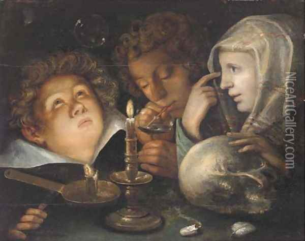 A vanitas allegory Homo Bulla Est, a boy blowing bubbles while another watches and a young woman holds a skull by candlelight Oil Painting - Jacob de II Gheyn