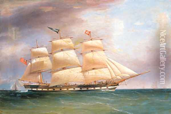 Portrait of the Full rigged Ship Bombay in full Sail Oil Painting - William Clark Of Greenock