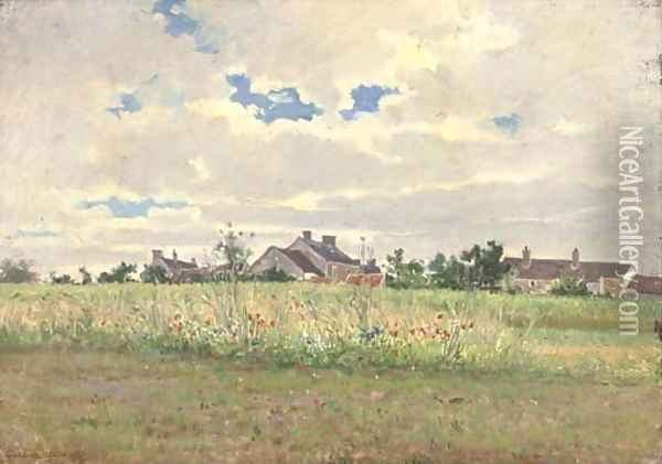 Cottages in summer pasture Oil Painting - Gustave Garaud