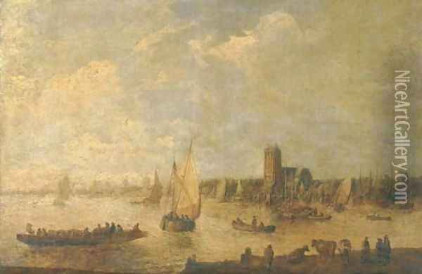 A river landscape with shipping and fishermen in rowing boats and cattle grazing in the foreground, a city beyond Oil Painting - Jan van Goyen