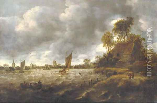 A river landscape with sailing vessels in rough waters, a village beyond Oil Painting - Jan van Goyen