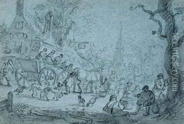 A horse-drawn cart with travellers in a village Oil Painting - Barent Gael
