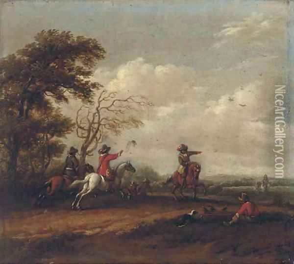 A wooded landscape with a hawking party Oil Painting - Barent Gael