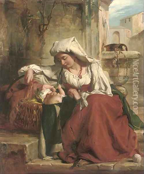 A rest at the well Oil Painting - Robert Gavin