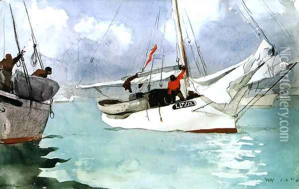 Fishing Boats, Key West Oil Painting - Winslow Homer