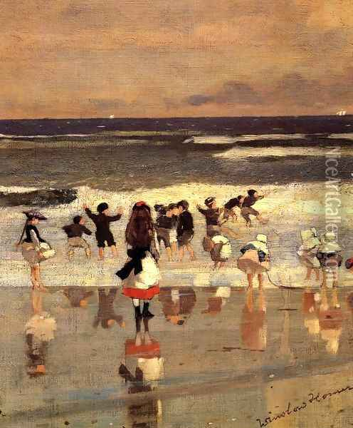 Beach Scene (or Children in the Surf) Oil Painting - Winslow Homer