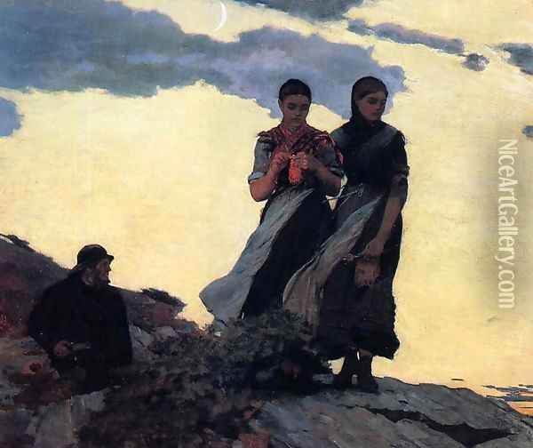 Early Evening (or Sailors Take Warning) Oil Painting - Winslow Homer