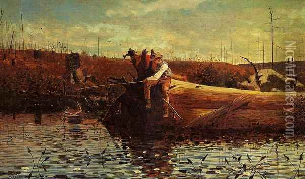 Waiting for a Bite Oil Painting - Winslow Homer