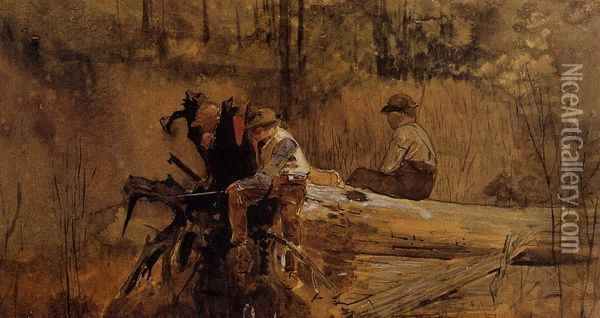 Waiting for a Bite I Oil Painting - Winslow Homer