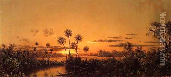 Florida River Scene Early Evening After Sunset Oil Painting - Martin Johnson Heade