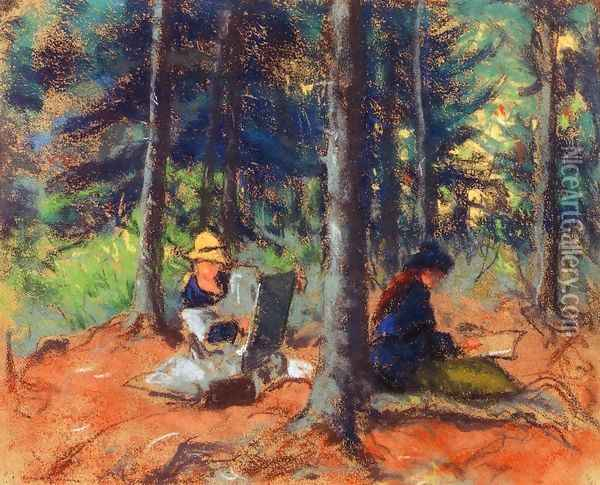 Artists In The Woods Oil Painting - Robert Henri