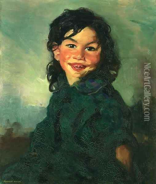 Laughing Gypsy Girl Oil Painting - Robert Henri