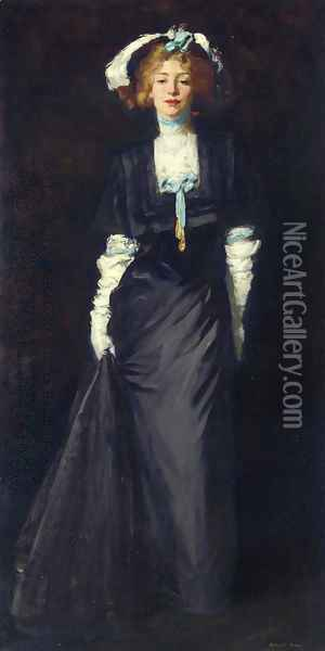 Jessica Penn In Black With White Plumes Oil Painting - Robert Henri