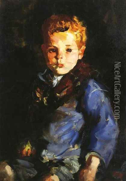 The Irish Boy In Blue Denim Anthony Lavelle Oil Painting - Robert Henri